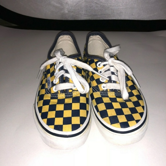 Vans Navy blue & Yellow checkered size 12 kids